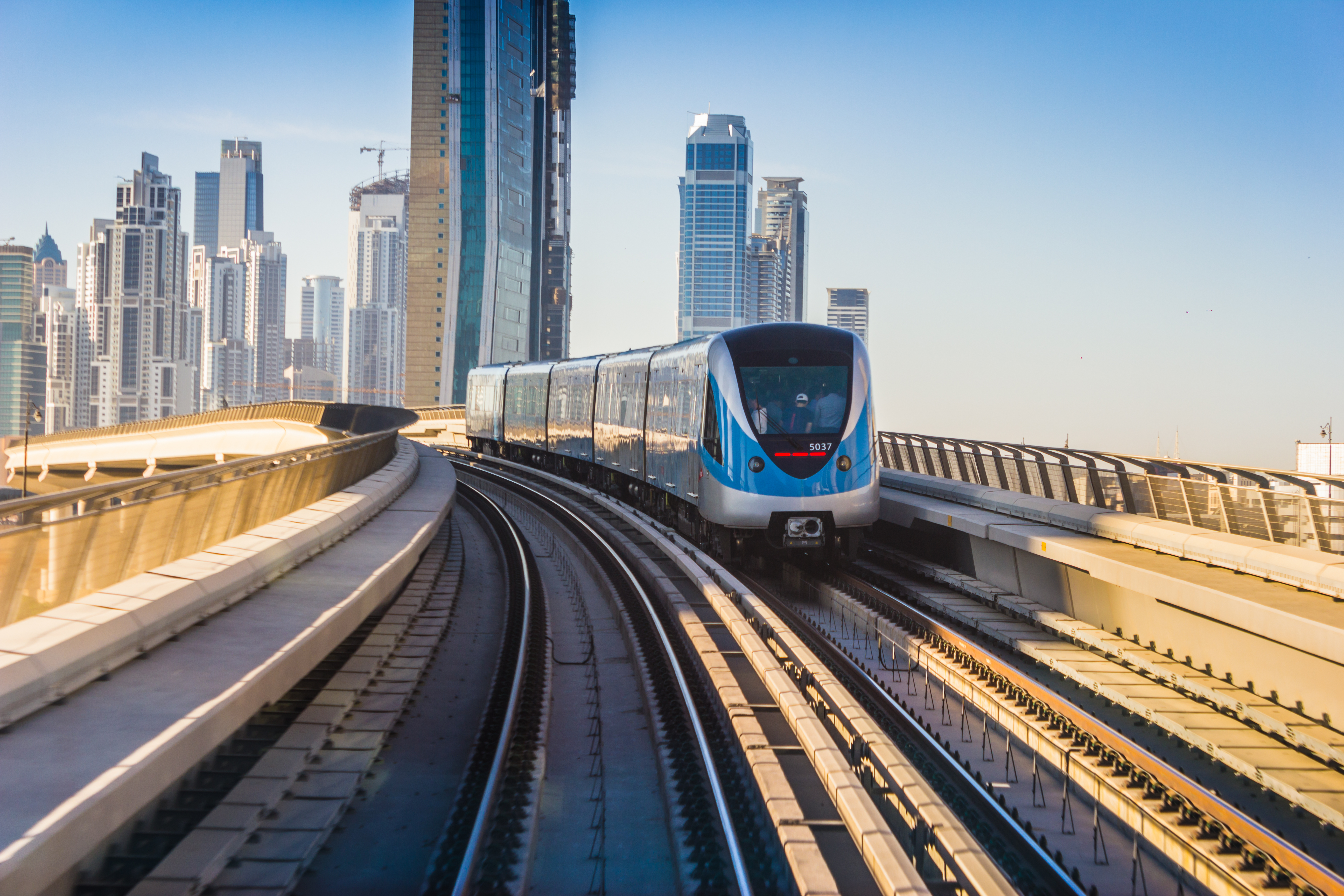 DUBAI UAE - NOVEMBER 18: Dubai Metro. A view of the city from the subway car nov 18. 2012. Dubai Metro as world's longest fully automated metro network (75 km) on November 18 2012 Dubai UAE.